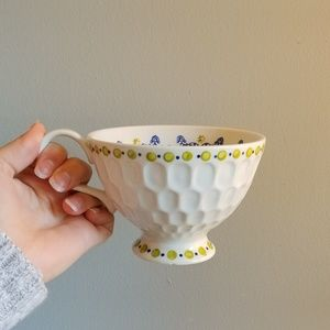 Anthropologie honeycomb pedestal coffee cup mug
